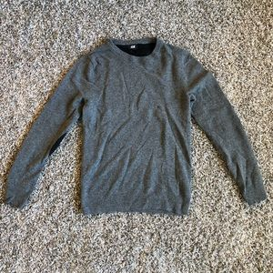 H&M Mens Lamb Wool Sweater with Elbow Patch